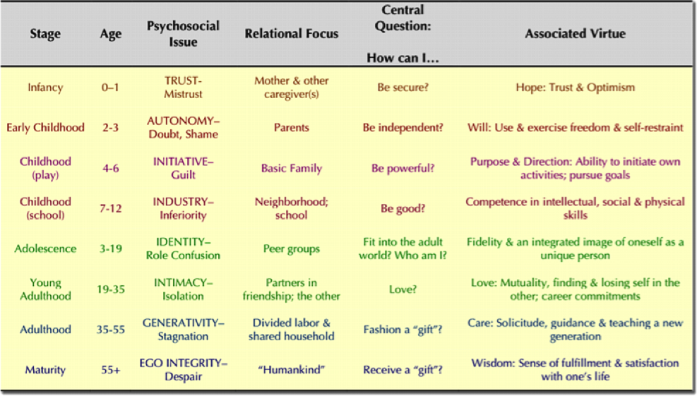 psychosexual stages of development with psychosocial stage model Sigmund freud's psychosexual theory and erik erikson's psychosocial theory are two important psychoanalytic theories on human development that could be used to explain the developmental effects of.